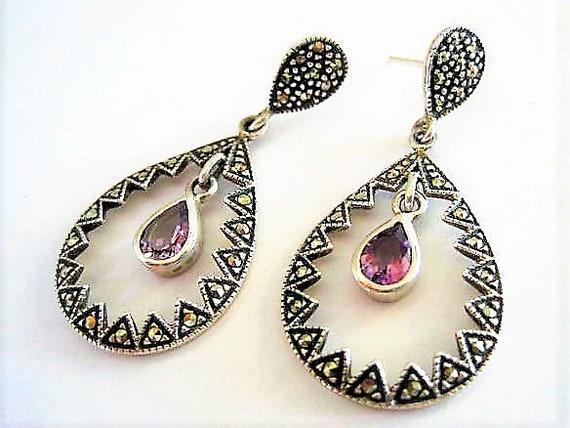 Sterling Marcasite Earrings, Amethyst Rhinestone Dangle, Pierced Signed 925, Gift for Woman Earrings,