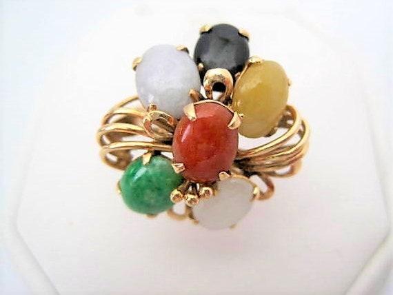 Jade Ring, 14K Gold Cluster, Multistone Setting, Size 6.5, Jade Gift for Women