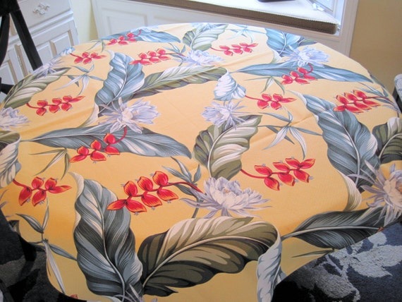 Hawaiian Barkcloth Tablecloth, Hawaii Floral Motif, Bold Colors Cotton, NOS