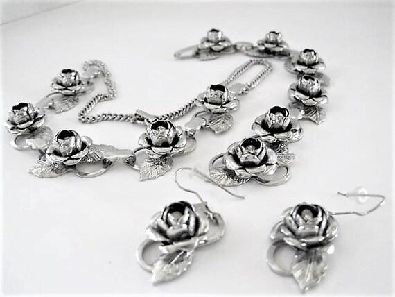 Silver Rose Necklace Set, Rhinestone Centered, Garden Party Choker