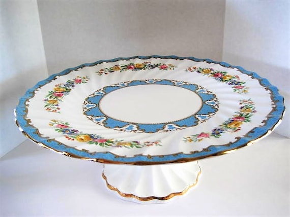 Crown Staffordshire Cake Plate, Footed Tall, Blue Lyric Pattern, Fine Bone China England