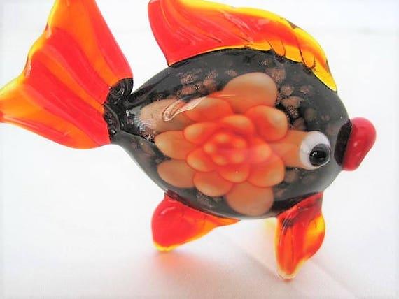 Murano Fish Brooch, Orange Blown Glass, Angel Fish Glass Pin