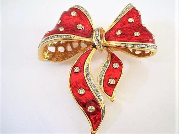 Red Bow Brooch, Red Enamel and Rhinestone, Holiday Brooch, Vintage Gold Tone