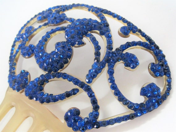 Celluloid Hair Comb,  Bright Blue Rhinestones, Gift for Woman, Hair Adornment