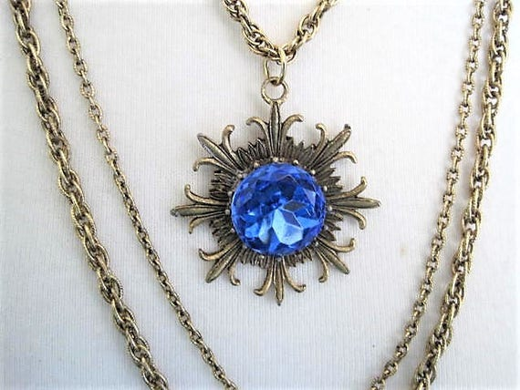 Blue Multi Chain Necklace, Unsigned Goldette,  Blue Foiled Back Stone, Gold Tone Pendant