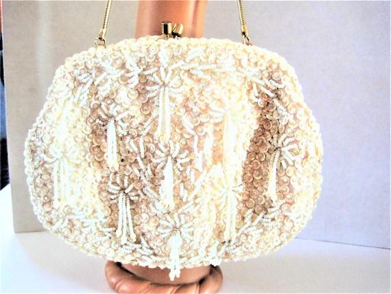 White Beaded Purse, Hand Beaded, Hong Kong, Evening Bag, Sequin Bead Encrusted, Wedding Purse