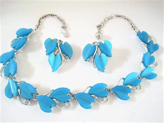 Aqua Lucite Necklace Set, Unsigned Hearts, Blue Lucite, Mid Century Choker Earrings
