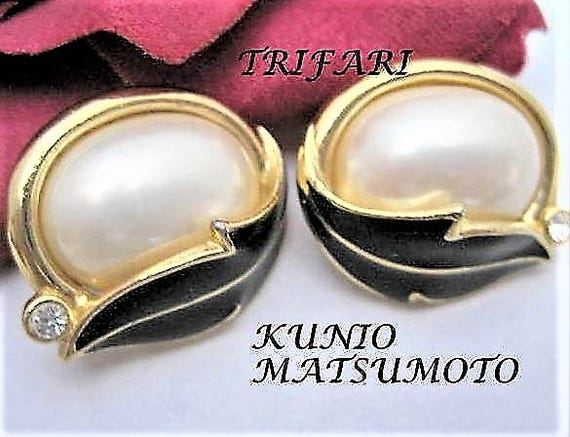Kunio Matsumoto Earrings, Trifari Signed,  Vintage Large Faux  Pearl,  Statement Earrings, Wedding Pierced