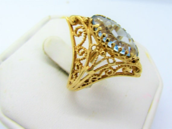 14K Gold Ring, Blue Spinel, Size 9, 14K Yellow Gol