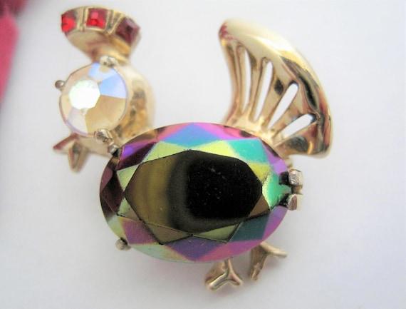 Hollycraft Bird Brooch, Signed Aurora Borealis, AB Rhinestone Faceted - Figural Pin