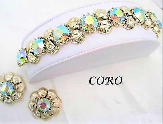 Coro Bracelet Earrings, Aurora Borealis Set, Vintage Green Rhinestone