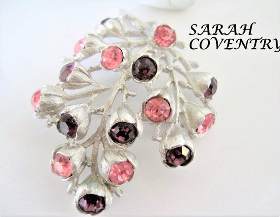 Sarah Coventry Brooch, Purple Pink Rhinestones,  Wisteria Pattern, 1962 Rhinestone Pin