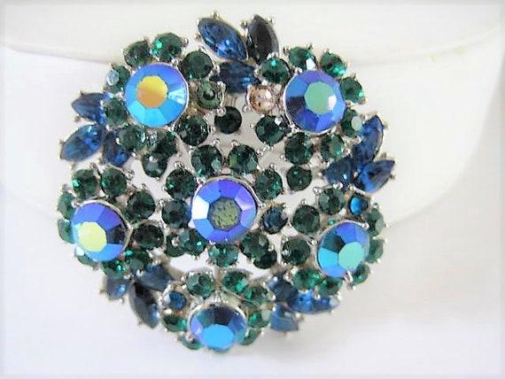 Crown Trifari Brooch,  Aurora Borealis Blue Rhinestones, Green Chatons Vintage Book Piece