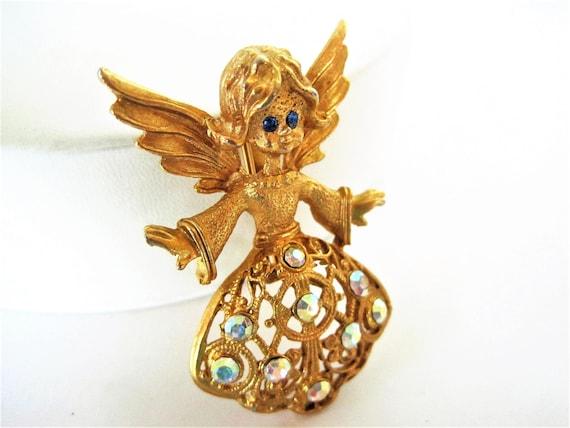 Angel Christmas Brooch, Rhinestone Angel, Blue Eyed Angel