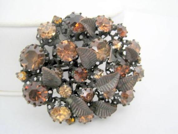 Austrian Crystal Brooch, Topaz Stones, Light and Dark Stones, Copper Setting, Rhinestone Pendant Pin