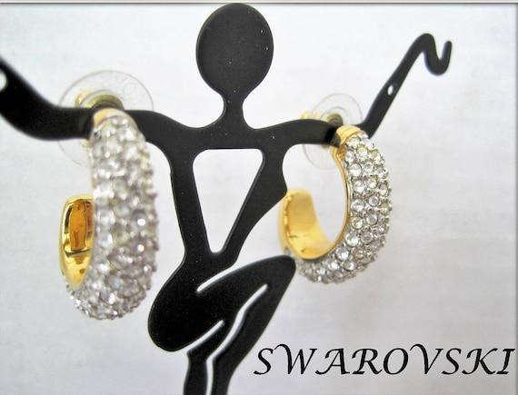 Swarovski Earrings, Vintage Crystal Stones,  Gold Tone Hoops,    Pierced Dangle Hoops - Swan Logo