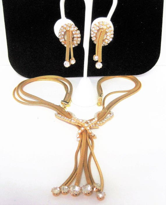 Gold Mesh Tassel Set, Necklace Earrings, Unsigned Hobe, Rhinestone Gold Mesh - Multistrand Necklace