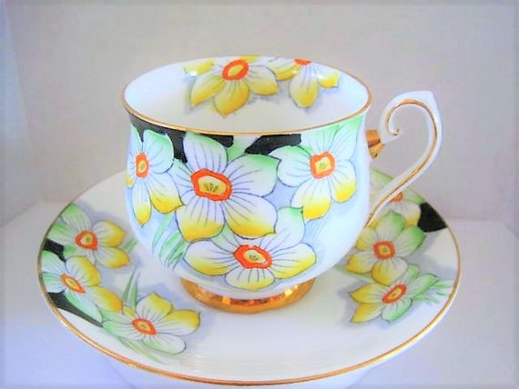 Phoenix Cup and Saucer, Bone China England, Narcissus Floral, Green Black Yellow, Footed Cup