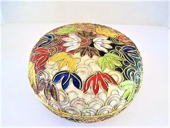 Cloisonne Trinket Jar,  Champleve Gold Details, Cobalt Interior, Round Leaf Design