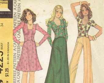 70s Ruched Knit Top, Maxi Skirt & Pants Pattern McCall's 4223. Square Neck Pullover Top, Long Gored Skirt and Pants. Size 12 Bust 34 inches.