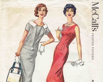 50s Sheath Dress & Jacket Pattern McCalls 4549. Fitted Sheath Dress, Bateau Neck, V-Back - Jacket w/Contrast Collar. Size 14 Bust 34 in