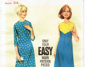 60s A-Line Shift Dress Butterick 4186. Easy Color Blocked Dress, sleeveless or 3/4 sleeves, Jewel Neckline. Size 14 Bust 34