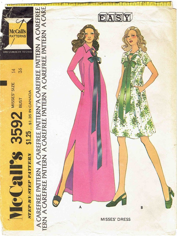 70er Jahre ausgestelltes Kleid Schnittmuster McCalls 3592. | Etsy