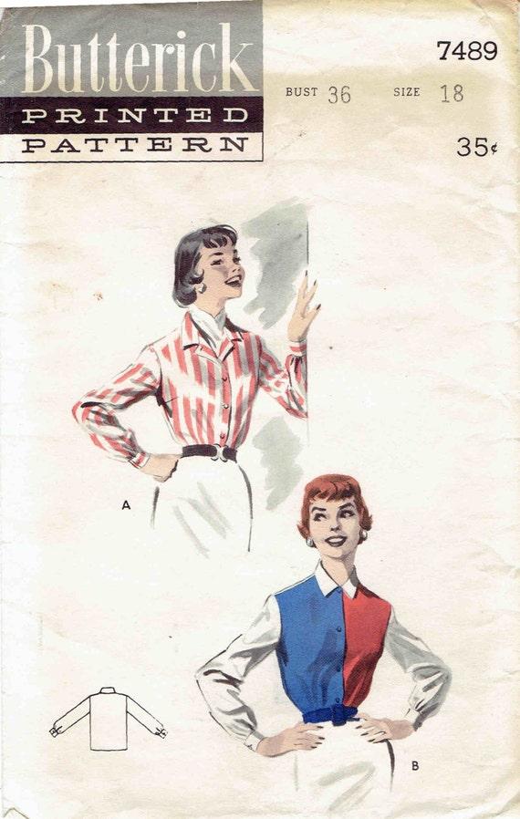 1950er Jahre zugeschnitten Bluse Muster Butt 7489. Langarm mit | Etsy