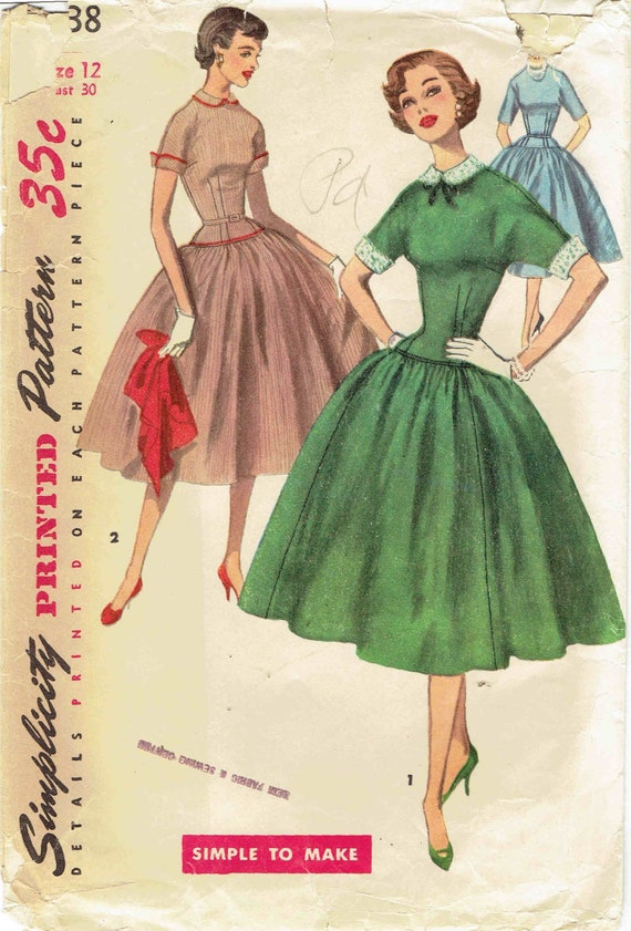 50er Jahre Kleid Schnittmuster SImplicity 1238 einfach zu tief | Etsy