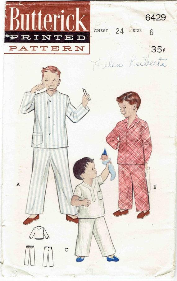 50er Jahre jungen Pyjamas Muster Butt 6429 Größe 6. Drei oben   Etsy