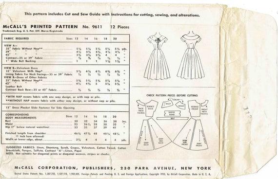 50er Jahre Kleid Schnittmuster McCalls 9611. Schwingen Sie | Etsy