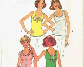 70s Tank Top Pattern SImplicity 6976. One Yard Knit Scoop Neck Tank Top with Embroidery, Lace Up Cording. Size Medium 12-14 Bust 34-36