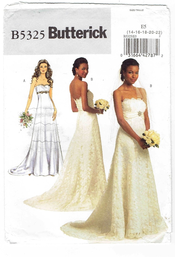 Formal Wedding Prom Dress Pattern Butterick 5325 Uncut Sizes Etsy