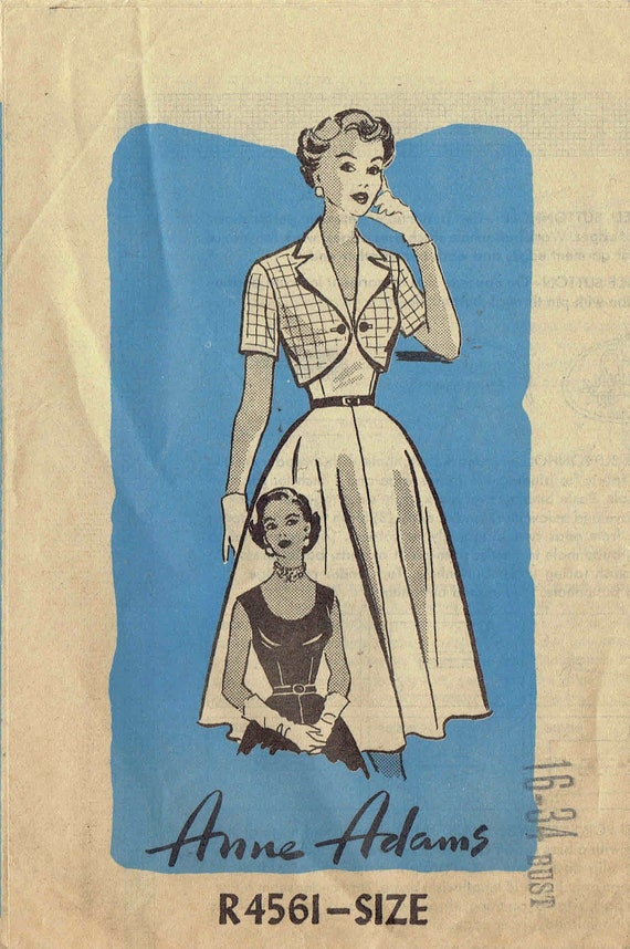 50er Jahre Kleid Muster Anne Adams 4561. Swing Kleid Fit und | Etsy