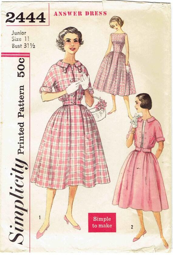 50er Jahre Bateau Hals Einfachheit Antwort Kleid Schnittmuster | Etsy