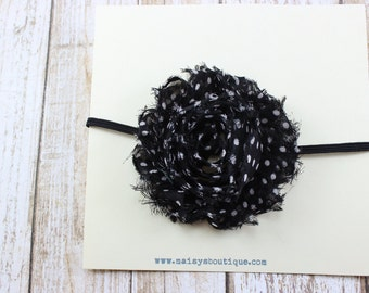 Newborn Black and White Flower  Headband/ Baby Headband/ Flower Girl Headband