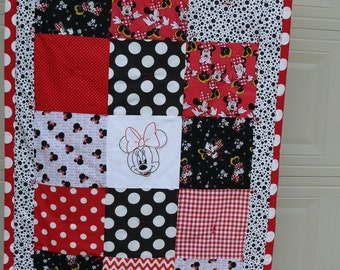 Red Polka Dot Minnie Mouse Handmade Quilt