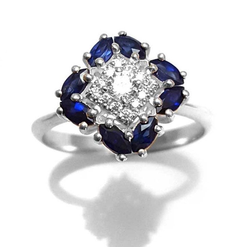 1132a21f426e7 Sapphire Ring Unique Engagement Ring Antique Vintage Art
