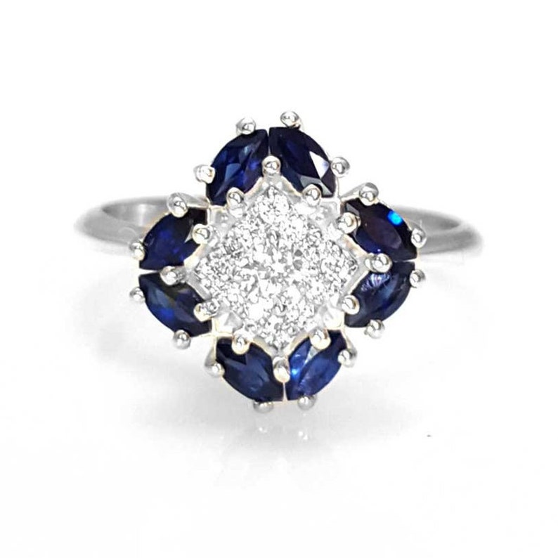 e43ea6772a351 Unique Sapphire and Diamond Engagement Ring in White Gold