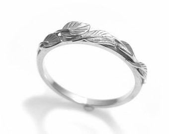 Leaf and Vine Wedding Band in 14K White Gold