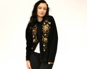 20% OFF SALE 50's / 60's Vintage Black Beaded Cardigan Sweater, 50's Beaded Sweater, Angora Cardigan