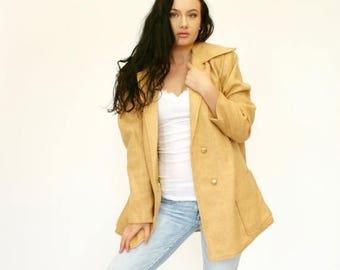 20% OFF SALE 60's Vintage Women's Gold Jacket, Women's Car Coat, Double Breasted Jacket, Tan Jacket, Women's Large