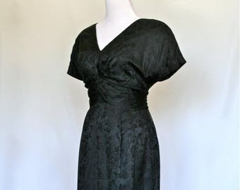 20% OFF SALE 90's Vintage Dress, Silk Black Dress, Designer Oleg Cassini