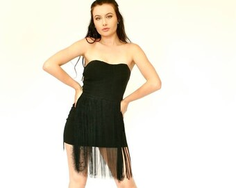20% OFF SALE 60's Retro Black Fringe Mini Dress, Strapless Mini Dress, Little Black Dress (LBD), Women's Small