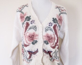 20% OFF SALE 80's Vintage Spring Sweater, Floral Rose Sweater, Granny Sweater, Cardigan Sweater