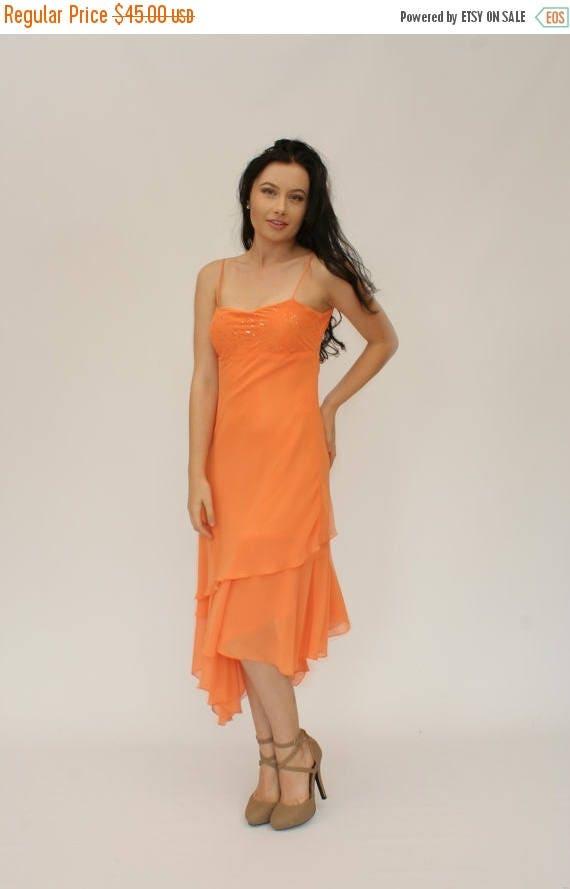 20 Off Sale 90s Prom Dress Orange Sherbet Dress Date Etsy
