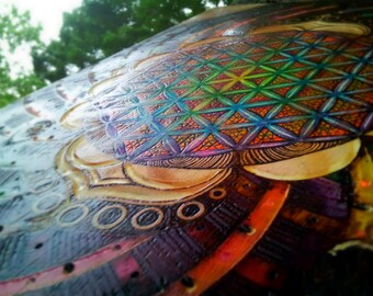 "RESERVED for Sage | Flower of Life Sacred Geometry FREE Shipping Wood One of a Kind Wall Art Rainbow  ""Panchromatic Existence"""