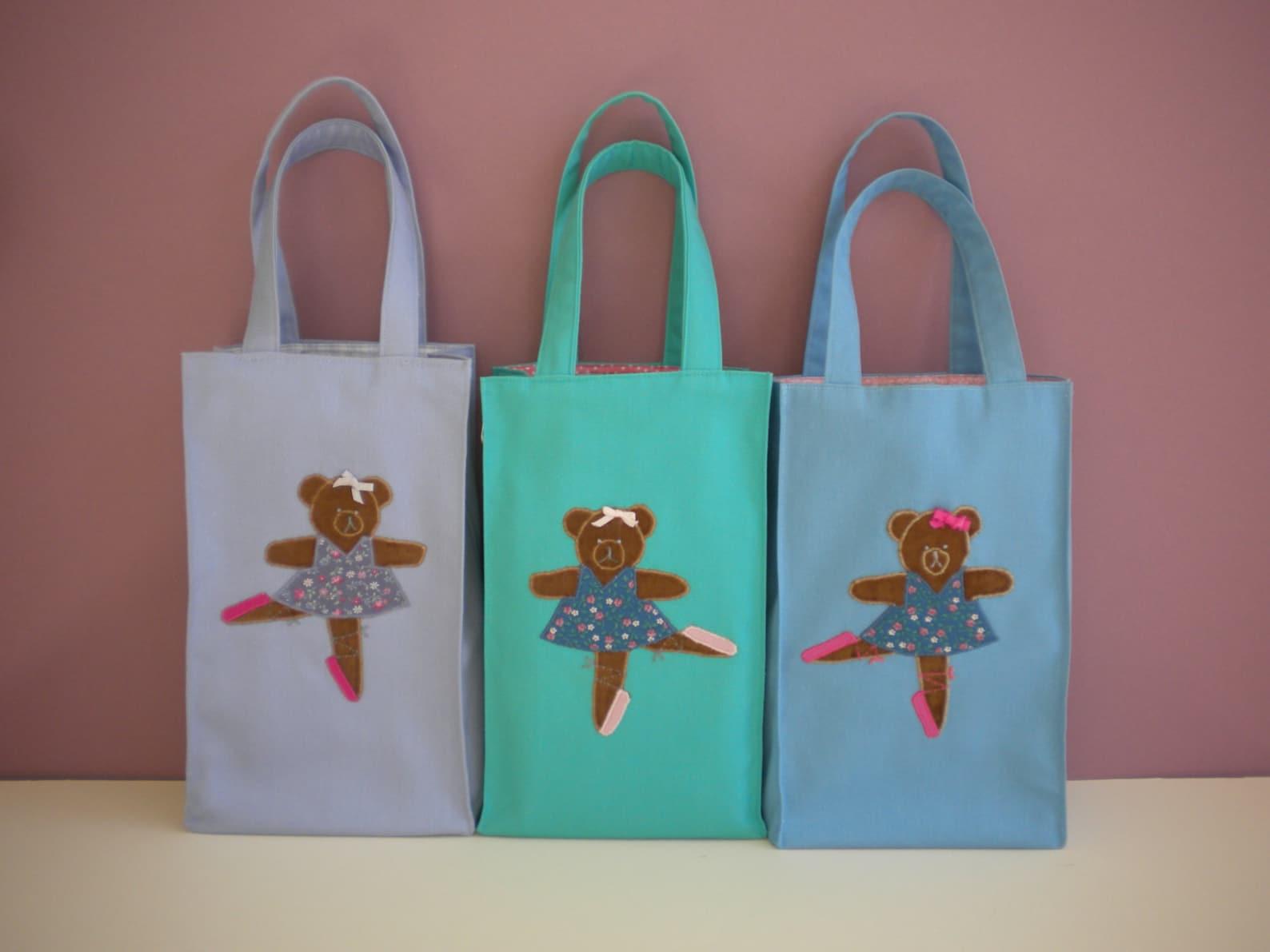 appliqued ballet bear tote bag