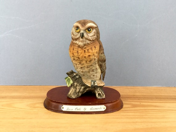 1970s Barn Owl Ornament Figurine By Leonardo England Etsy