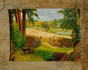 Painting of Rural England Original Art Primitive Landscape Oil Wall Hanging Home Decor